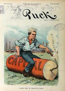 cover illustration, Puck (1902): working man lighting the fuse of dynamite labeled